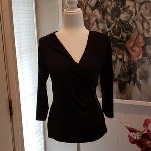 Black wrap blouse